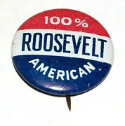 And03936 100 American Franklin D Roosevelt Fdr Campaign Pin Pinback Button Political
