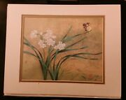 Chinese Artist David Wang Matted Rice Paper Gold Butterfly Print 1999
