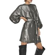 Nwt 499 Anine Bing Size Small Angie Metallic Sequin Belted Dress Party Glam