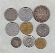 Nine Coins From Germany And Switzerland 1876a To 1982 In Fair Or Better Condition