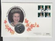 1996 Canada Silver One Ounce 5 Dollar Queen Elizabeth Ii Stamp Cover Set.