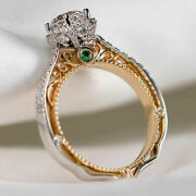 Gorgeous Two Tone 925 Sterling Silver Rings For Women Jewelry Wedding Party Ring