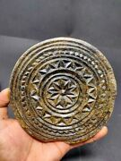 Antique Stone Cookie Mold Hand Carved Floral Work Tribal Design Kitchenware