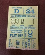 1970 New York Knicks Baltimore Bullets Game 5 Playoff Ticket Willis Reed 36 Pts