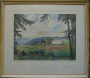 F. Hieke Farmhouse Edge Of The Forest Hill Mountain Alps Meadow Trees Sky Signed