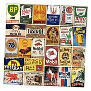 24 Pieces Gas And Oil Tin Signs Retro Vintage Metal Sign For Home Man Cave