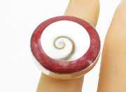 925 Sterling Silver - Red Jasper And Shiva Eye Round Cocktail Ring Sz 5 - Rg7819