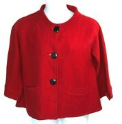 Tally Ho Womens Red 100 Wool Button Front Jacket Coat Blazer Vintage Size Small