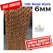 10k Rose Gold 6mm Semi Solid Diamond Cut Rope Link Chain Necklace 18-24 Inch