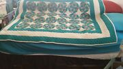 Hand Sewn Quilt Vintage Antique Quilt 54 X 66 Twin Size 2 Of 2 Christmas Wreath