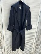 Black Blue Wool Blend Chunky Knit Coat Jacket Gown Cardigan Size 40