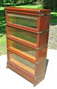 Antique Globe Wernicke Mahogany Barrister Lawyerand039s Stacking Sectional Bookcase