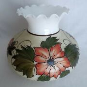 Hand Painted Pink Floral Milk Glass Gwtw Hurricane Lamp Shade Replacement Globe