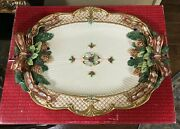 Fitz And Floyd Christmas Florentine Platter 3 D Pinecones And Bows In Original Box