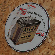 Vintage 1964 Atlas And039heavy Dutyand039 Batteries Porcelain Gas And Oil Metal Sign