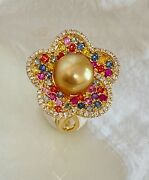 Multi Color Sapphires And Diamond 18k Yellow Gold Ring W/ Golden South Sea Pearl