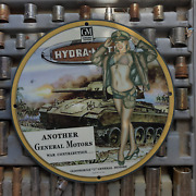 Vintage 1945 General Motors Hydramatic M-24 Tank Porcelain Gas And Oil Metal Sign