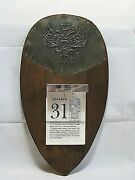 Russian Calendar Holder Wood And Brass Plate Imperial Eagle Tear-off Paper Ca1900s