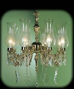 Chandelier In Fusion Of Brass Classic A 8 Lights Bga 462 With Glass Antique