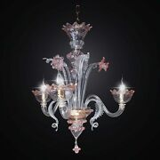 Chandelier Murano Original A 3 Lights Clear And Pink Coll. Bga 590/3a