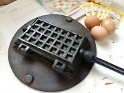 Antique Cast Iron Waffle Iron Complete With Stove/aga Ring Plate. Waffle Maker