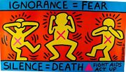Keith Haring / Ignorance = Fear / Silence = Death Fight Aids Act Up 1989