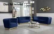 Contemporary Style Channel Tufting Sofa Love Seat Navy Color Velvet 2pc Sofa Set