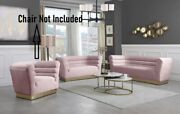 Contemporary Style Channel Tufting Sofa Love Seat Pink Color Velvet 2pc Sofa Set
