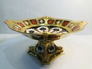 Royal Crown Derby Old Imari Solid Gold Band Dolphin Pedestal Bowl Centerpiece