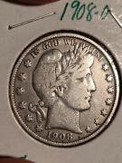 1908 O Barber Half Dollar Real Good Date To Collect Vf 180