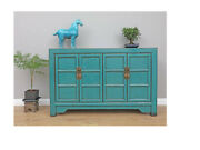 Antiques Buffet Chinois Commode Turquoise M-kom-y256
