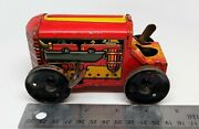 Vintage 1940/50and039s Marx - Yellow And Red Wind Up Tin Litho Tractor Parts