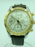 Secondhand Omega Speedmaster Triple Calendar Automatic Watch Analog Leather Gld