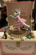 Rare Vintage Schmid Kitty Cucumber Moving Kittyand039s Toy Chest Music Box Pink Train