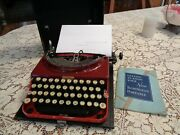 1920and039s Rare Remington Red Portable Typewriter With Case Works Great 619891a