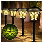 8 Pack Solar Lights Bright Pathway Outdoor Garden Stake Glass Stainless Steel