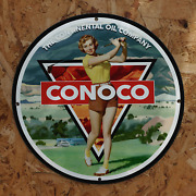 Vintage 1930 Conoco Continental Oil Company Porcelain Gas And Oil Metal Sign
