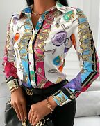 Blouse Shirt Long Sleeve Baroque Top Women Slim Spring Collared High Quality New