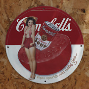 Vintage 1932 Campbell's Condensed Tomato Soup Porcelain Gas And Oil Metal Sign