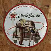 Vintage Texaco Service Station And039and039circle Serviceand039and039 Porcelain Gas And Oil Metal Sign