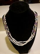 Vintage Imperial 14k Gf Multi Strand Keshi Rice Pearl Glass Gold Bead Necklace