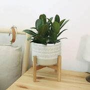 Ceramic Plant Pot With Stand, 7.3 Decorative Pot, Light Beige And White