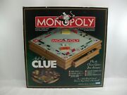 Monopoly And Clue + Classic Games Tabletop Board Game W/ Storage Drawer Complete