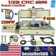 Usb 4axis 2.2kw 6090 Cnc Router Engraver Wood Metal Carving Mill Machine Er20+rc
