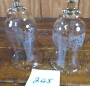 Votive Cups Set Of 2 Homco Home Interior Crystal Clear Glass Frosted Flowers