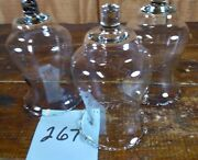 Votive Cups Set Of 3 Homco Home Interior Crystal Clear Glass Frosted Laurel Leaf