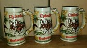 Lot Of 3 Budweiser Holiday Clydesdale Beer Stein Mugs