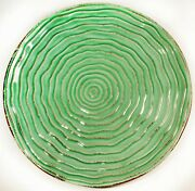 Set Of 6 Bizzirri 8 3/8 Salad Plates Made Italy Hand Painted Wavy Green And Brown