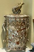 Large Antique 19th Cent Satsuma Cylindrical Jar With Eagle Finial. 19h11 Wide