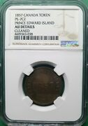 1857 Canada Token Pe-7c2 Edward Island Copper Ngc Au Details Cleaned